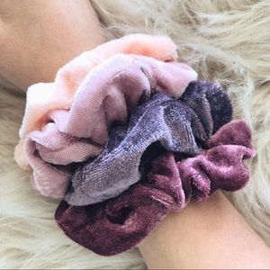Purple back of soft velvet scrunchies